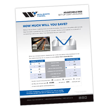 Set Up cost analysis for Adjustable Dies in the press brake