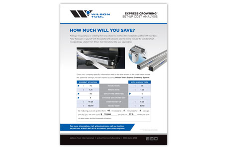 Set Up cost analysis for Express Crowning® systems for press brake