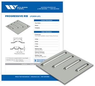 Progressive rib tool template and flyer