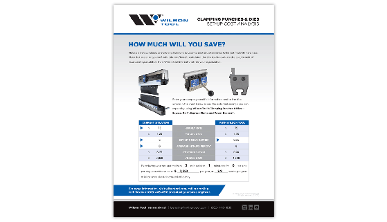 Set Up cost analysis for clamping punches and dies in the press brake