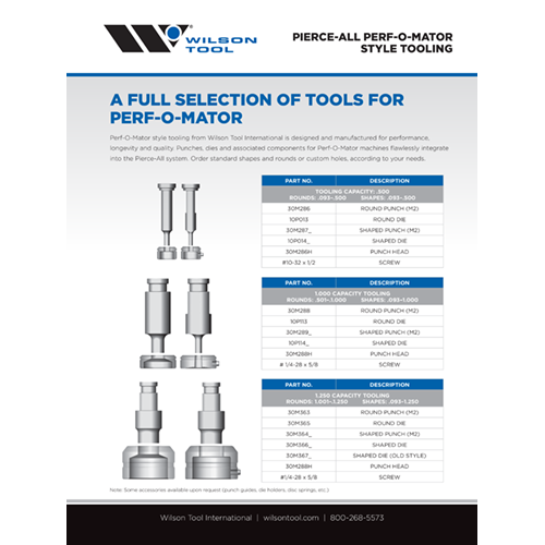 Pierce-All Perf-O-Mator Style Tooling Flyer