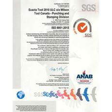 Exacta ISO 9001:2015 Certificate