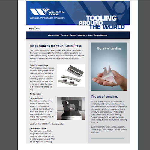 Tooling Around the World e-Newsletter - May 2012