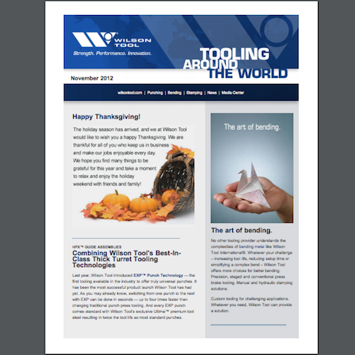 Tooling Around the World e-Newsletter - November 2012