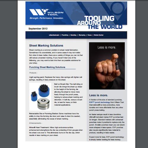 Tooling Around the World e-Newsletter - September 2012