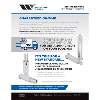 On Time Tablet Tooling Guaranteed Flyer