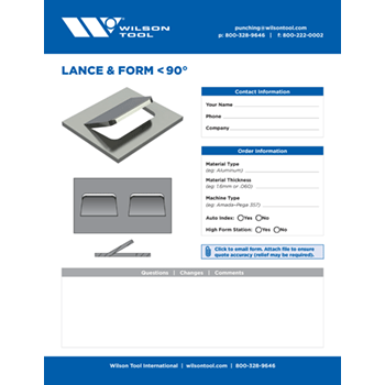 Lance & Form < 90° Template