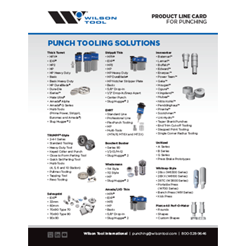 Punching Product Line Card