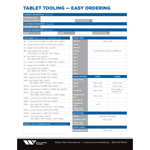 Tablet Tooling — Easy Ordering Guide