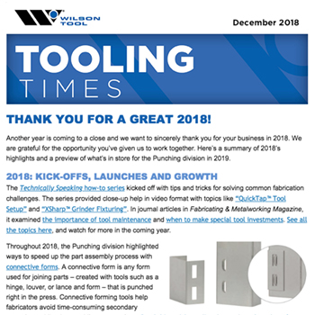 Tooling Times December 2018 e-Newsletter