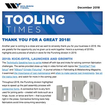 Tooling Times e-Newsletter December 2018