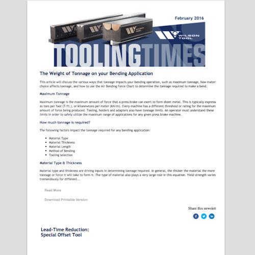 Tooling Times e-Newsletter - February 2016 | Wilson Tool